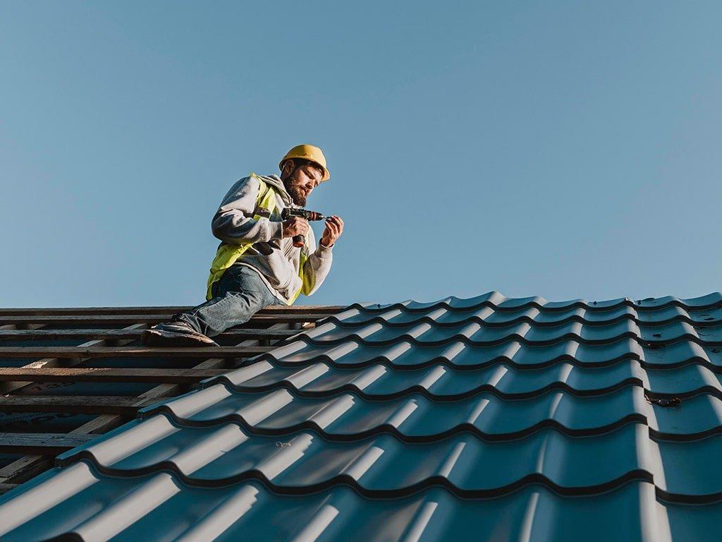 Corrugated sheet roof